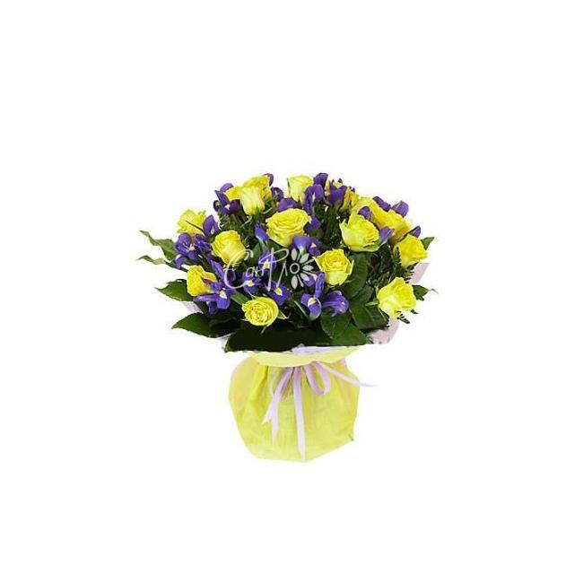 Желтые роза ирисы букет, цветы через