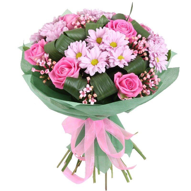 Простые букеты из роз хризантем для начинающих